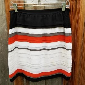 Club Monaco Stripe Tiered Silk Mini Skirt